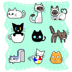 Collection of cute cat cartoon character design in various style with active poses.
