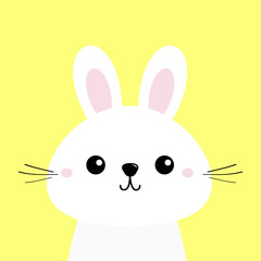 White bunny rabbit. Funny head baby face. Big ears. Cute kawaii cartoon character. Greeting card template. Happy Easter sign symbol. Yellow background. Flat design.