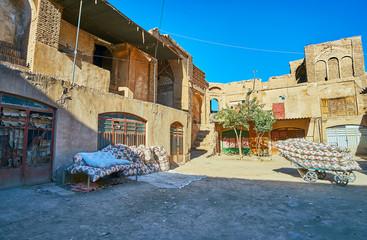 The mattress workshop in Hindu Caravanserai, Kerman, Iran