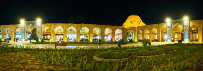 Panorama of evening Ganjali Khan Square, Kerman, Iran