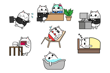 Cute cat cartoon character design set running, meeting, working, eating, bath in bathtub, sleep on bed and relax.