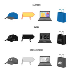 Baseball cap, pointer in hands, laptop, shopping bag.Advertising,set collection icons in cartoon,black,monochrome style vector symbol stock illustration web.