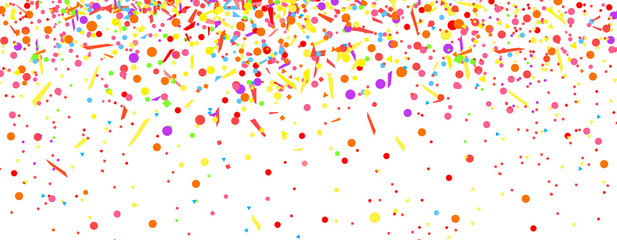 Explosion on white. Background with confetti. Pattern for design with glitters. Print for banners, posters, t-shirts and textiles. Greeting cards