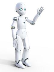 3D rendering of a white cartoon robot waving hello.