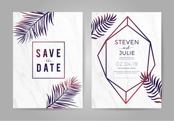 Luxury wedding invitation cards with marble texture and geometric shape , palm leaf tropical style pattern vector design template