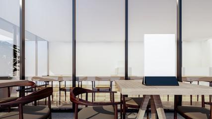 Restaurant interior with Menu Frame On Table Mockup , 3d rendering