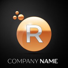 Silver Letter R logo. Gold dots splash and abstract liquid bubble shape on black background. Vector template for your design