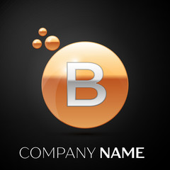 Silver Letter B logo. Gold dots splash and abstract liquid bubble shape on black background. Vector template for your design
