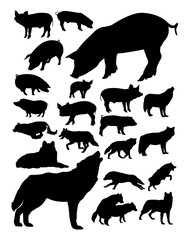 Pig and wolves silhouette. Good use for symbol, logo, web icon, mascot, sign, or any design you want.