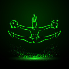 Cheerleader jumps and doing splits with pom poms. Green neon cheerleading illustration for sporting poster event.