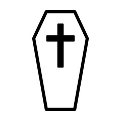 Coffin for the dead or casket with cross line art vector icon for games and websites