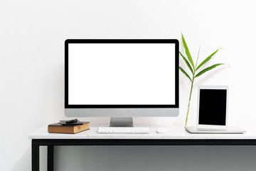White desktop computer for mockup your advertise.