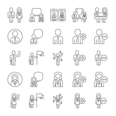 Vector set of business people line icons