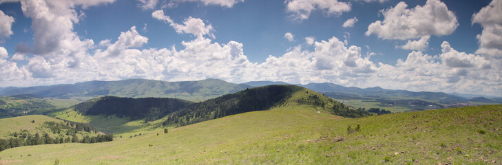 Panorama of Zlatibor mountain and clouds in Serbia