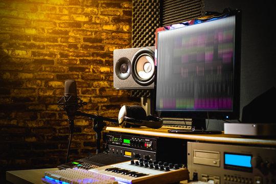home studio, digital sound recording & editing studio equipment, music production