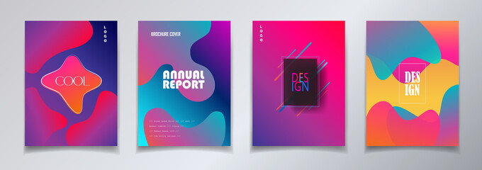 Fluid vibrant gradient color abstract Brochure covers set. Colorful dynamic floating bubbles shapes, hipster style. Trendy minimal futuristic design. Concept Business, Festival 3d Surreal Pop Art