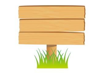木の看板(草あり)