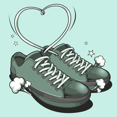 Hand drawn Sneakers, graphic vector illustration.