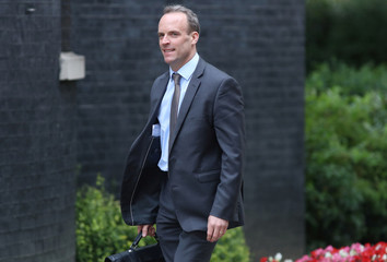 Britain's Secretary of State for Exiting the European Union Dominic Raab arrives in Downing Street for this morning's cabinet meeting in Westminster, London