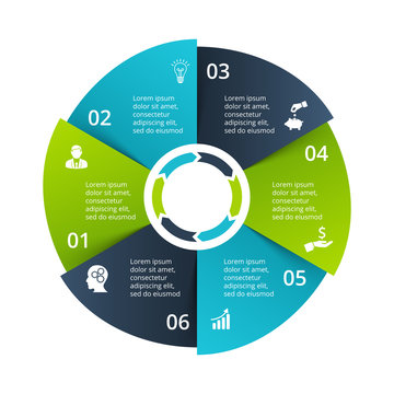 Circle diagram divided into 6 parts, steps or options. Vector origami infographic design template. Illustration for project steps visualization. Business presentation.