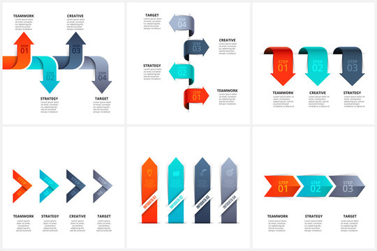 Set of vector arrows infographic design layouts with 3 and 4 options, parts or step. Illustration for project steps visualization. Modern design elements. Business presentation.