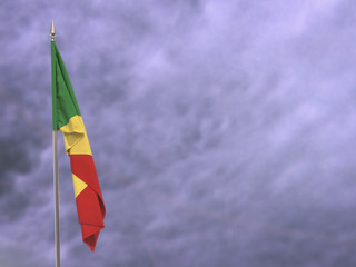 Flag of the Republic of the Congo hanging down dangling