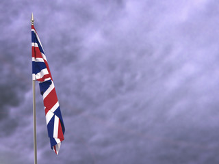 Flag of the United Kingdom hanging down dangling