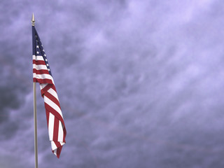 Flag of the United States hanging down dangling