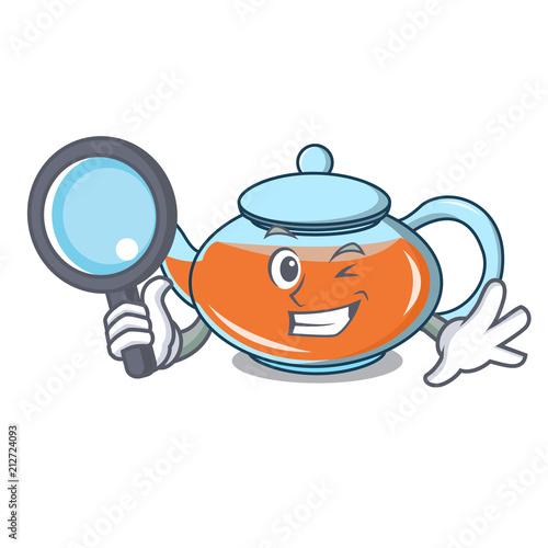 Detective Transparent Teapot Character Cartoon Stockfotos Und