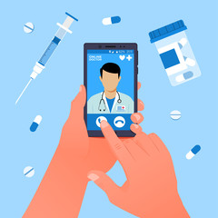 Online doctor concept. Hand holds a smartphone with an online clinic app. Vector illustration