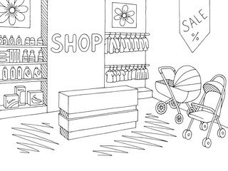 Baby shop store graphic black white interior sketch illustration vector