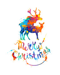 Merry Christmas card with silhouette of mating deers.