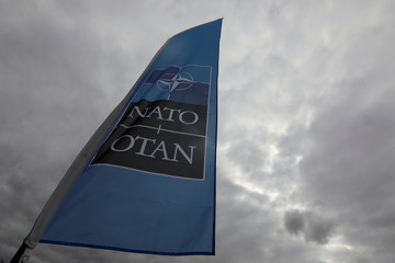 A NATO flag is seen ahead of the Summit in Brussels