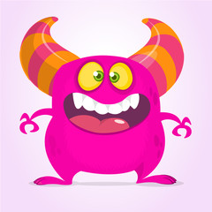 Happy cartoon monster with big mouth. Vector pink  monster illustration. Halloween design