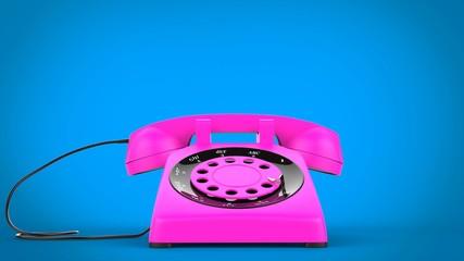 Cotton candy pink vintage telephone - closeup shot
