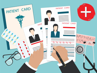 Male hands with a pen - Medical cards of patients with a photo, cardiogram, stethoscope - art vector