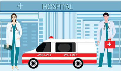 Doctors of ambulance silhouettes of men and women - on the background of the building of the Hospital - art vector