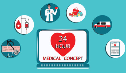 Medical concept - icons - heart on computer screen background, doctor, electrocardiogram, ambulance car, medication - art vector