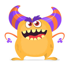 Scared cartoon monster with big mouth. Vector orange monster illustration. Halloween design