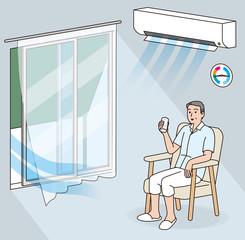 室内のシニアの熱中症予防