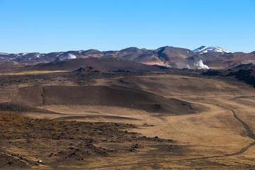 Empty desert landscape of Iceland