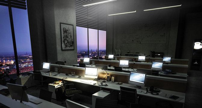 Bürokomplex - Großraumbüro mit mehreren Arbeitsplätzen am Abend