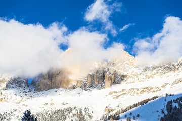 Winter Clouds in Dolomites Mountains