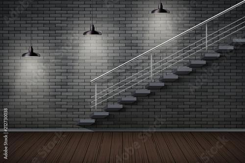 Dark brick wall and staircase  Prison or loft interior with cone
