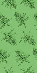 Seamless texture with drawn by hand leaves. Handmade repeating background. Tile pattern. Nature ornament with branches. Green theme.