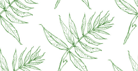 Seamless texture with drawn by hand leaves. Handmade repeating background. Tile pattern. Nature ornament with branches. Light theme.