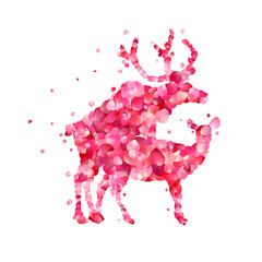 Mating deers of pink rose petals