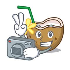 Photographer cocktail coconut mascot cartoon