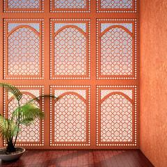 historical period drama scene interior design arabic style,3d illustration