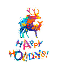 Happy Holidays card with silhouette of mating deers.